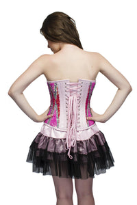 Plus Size Red Pink Satin Sequins Overbust Corset Top & Black Tutu Skirt - CorsetsNmore