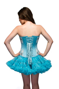 Turquoise Satin Handmade Sequins Overbust Corset Dress Top-