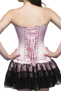 Baby Pink Satin Double Bone Overbust Plus Size Corset Top & Tutu Skirt - CorsetsNmore