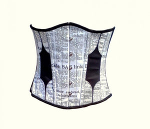 Cotton Black And White Newspaper Print Underbust Plus Size Corset Top - CorsetsNmore