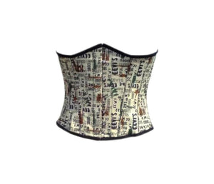 Newspaper Print Cotton Underbust Plus Size Corset Waist Training Top