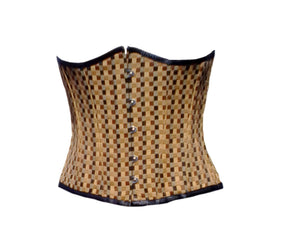 Brown Cotton Brocade Underbust Plus Size Corset Waist Training Top - CorsetsNmore