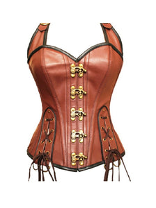 Brown Real Leather Lacing Design Overbust Plus Size Corset Waist Training - CorsetsNmore