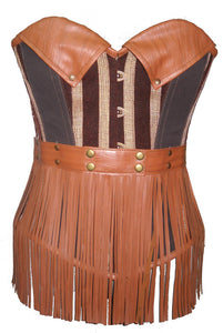 Brown Leather Cotton Overbust Plus Size Corset Steampunk Fashion Costume - CorsetsNmore