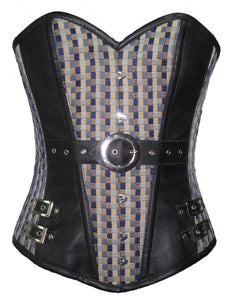 Printed Cotton Leather Work Overbust Plus Size Corset Waist Training - CorsetsNmore
