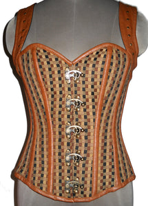 Cotton Jute And Leather Shoulder Strap Overbust Plus Size Corset Waist Training - CorsetsNmore
