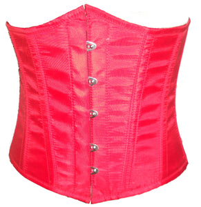 Red Poly Tapta Fabric Underbust Plus Size Corset For Waist Training Bustier Top - CorsetsNmore