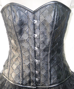 Black Faux Leather Overbust Plus Size Corset Steampunk Costume Waist Trainer Top - CorsetsNmore