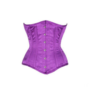 Purple Satin Burlesque Costume Underbust Plus Size Corset Waist Training Bustier - CorsetsNmore
