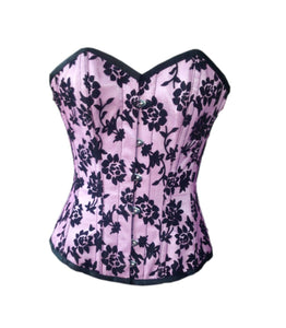 Pink Satin Black Tissue Flocking Overbust Plus Size Corset Waist Training - CorsetsNmore