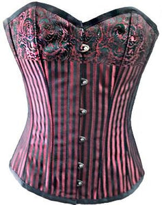 Red And Black Brocade Design Plus Size Overbust Corset - CorsetsNmore