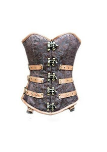 Brocade Leather Overbust Plus Size Corset Waist Training Steampunk Period Costum - CorsetsNmore