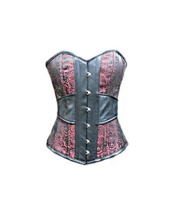 Red Brocade Jacquard Leather Victorian Overbust Plus Size Corset Waist Training - CorsetsNmore