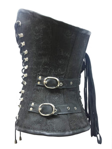 Black Brocade Leather Zipper Laces Gothic Steampunk Bustier Burlesque Overbust Corset Costume-
