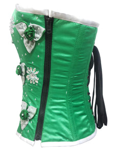 Green Satin Sequins Gothic Burlesque Corset Waist Training Women Overbust