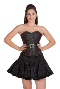 Plus Size Red Black Brocade And Leather Overbust Corset Dress with Cotton Silk Tutu Skirt