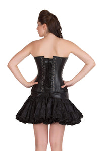 Black Faux Leather Seal Lock Gothic Steampunk Waist Training Bustier Overbust Costume Corset Top