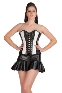 Plus Size Black & White Rice Leather Lace Design Gothic Overbust Corset Waist Training Bustier Steampunk Costume With Skirt Dress