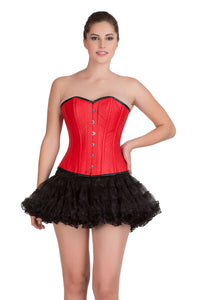 Red Leather Gothic Steampunk Waist Training Bustier Overbust Corset Top