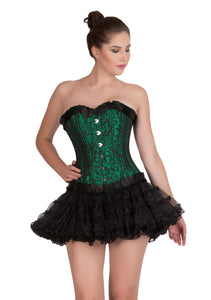 Plus Size Green Black Brocade with Frills Double Bone Overbust Corset Burlesque Top & Tissue Tutu Skirt Dress