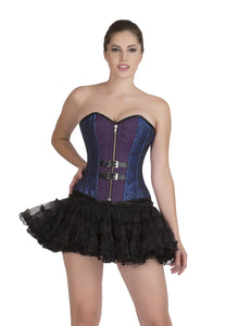 Blue Black Brocade And Purple Cotton Plus Size Overbust Corset Burlesque Top & Tissue Tutu Skirt Dress - CorsetsNmore
