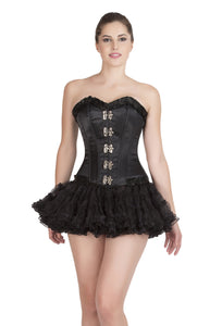Black Satin & Lace Steampunk Waist Training Plus Size Overbust Corset Top & Tissue Tutu Skirt Dress - CorsetsNmore