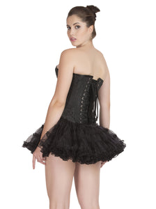 Black Brocade Burlesque Plus Size Waist Training Overbust Corset with Tissue Tutu Skirt Dress - CorsetsNmore