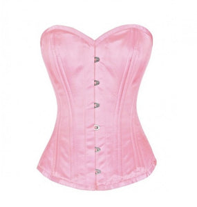 Pink Satin Double Bone Gothic Overbust Plus Size Corset Waist Training Burlesque Costume