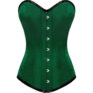 Green Satin Gothic LONG Overbust Plus Size Corset Waist Training Burlesque Costume Bustier