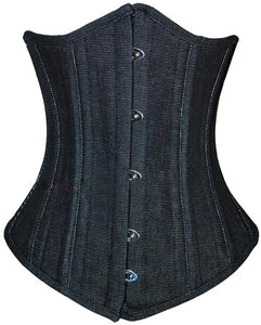 Plus Size Black Denim Double Bone Gothic Underbust Corset Waist Training