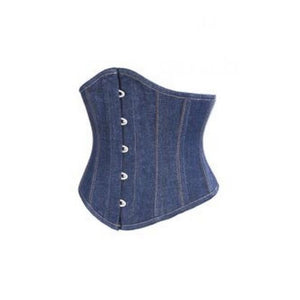 Plus Size Blue Denim Gothic Steampunk Costume Underbust Corset Waist Training