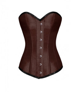 PLus Size Brown Satin Gothic LONGLINE Overbust Corset Waist Training