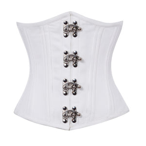 White Satin Seal Lock Double Bone Underbust Bridal Plus Size Corset Waist Trainer Steampunk Costume