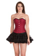 Red Cotton Black Satin Piping Gothic Overbust Plus Size Corset Waist Training Burlesque Costume  Top & Dress