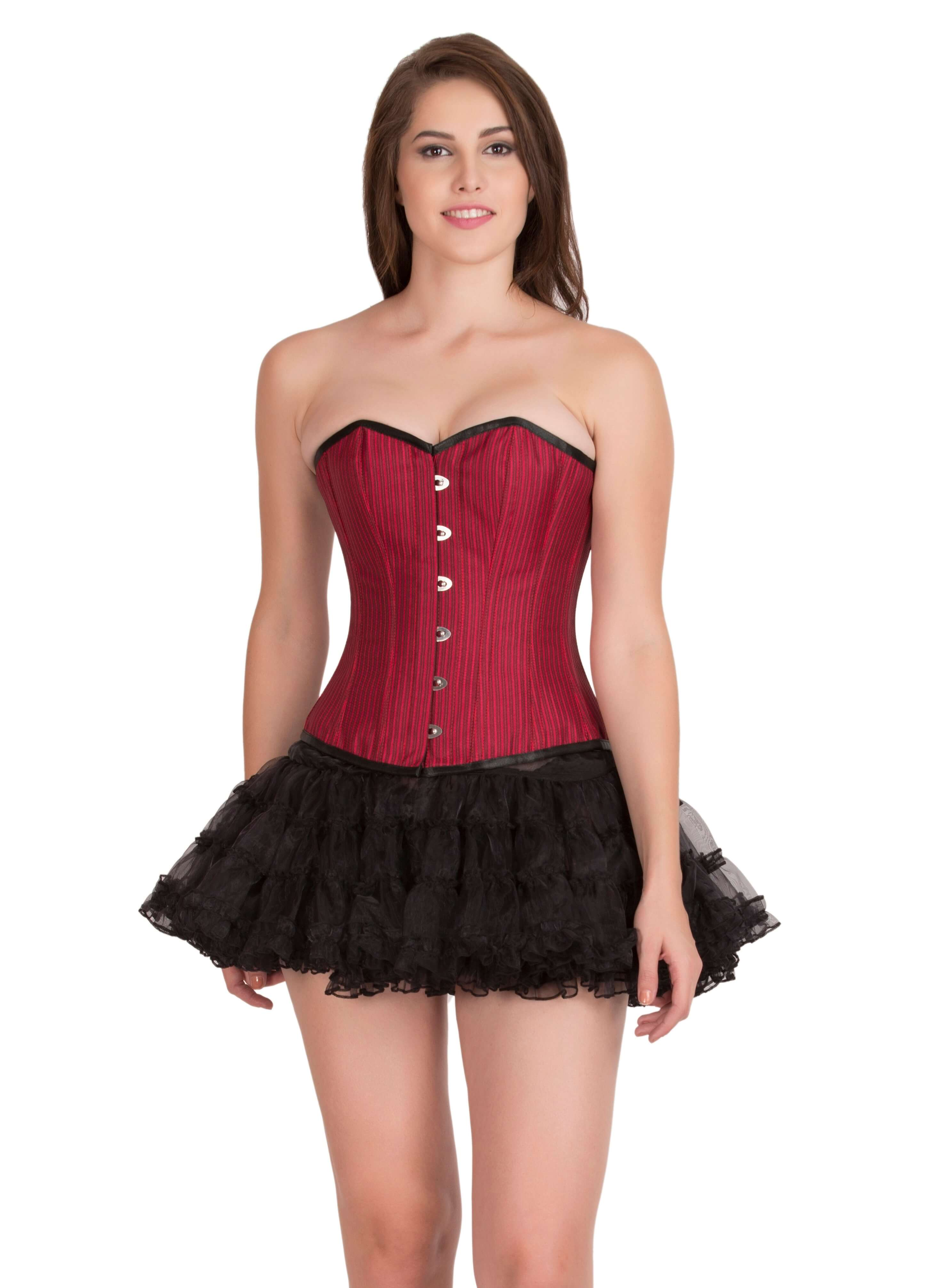 Corsets Red Satin Black Bondage Lacing Gothic Front Busk Opening Burlesque Waist Training Overbust Top