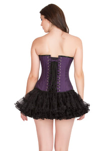 Purple Cotton Black Satin Piping Gothic Overbust Plus Size Corset Waist Training Burlesque Costume Dress