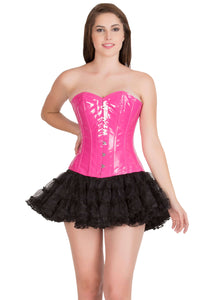 Pink PVC Leather Gothic Corset Burlesque Bustier Waist Training Overbust Top