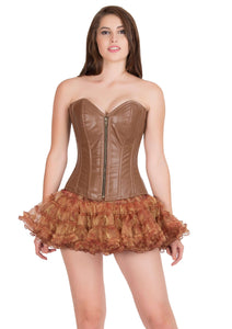 Sexy Brown Leather Zipper Gothic Corset Burlesque Bustier Waist Training Overbust Top