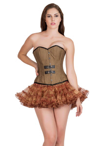 Brown Cotton Black Leather Piping Gothic Corset Steampunk Waist Training Bustier Overbust Top