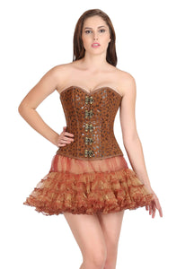 Printed Brown Soft Leather Gothic Corset Steampunk Waist Training Bustier Overbust Top
