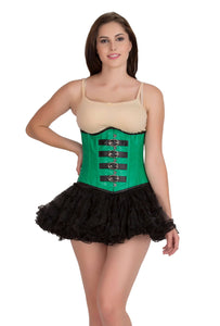 Green Faux Leather Gothic Steampunk Waist Training Bustier Underbust Corset Top