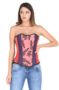 Red Purple Satin with Tissue Flocking Plus Size Overbust Corset Burlesque Waist Cincher Bustier Top