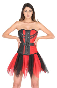Red Black Satin Leather Gothic Steampunk Waist Cincher Bustier Net Skirt Overbust Corset Dress-