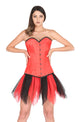 Red Satin Double Bone Burlesque Plus Size LONG Overbust Corset Red Black Net Tutu Skirt Dress