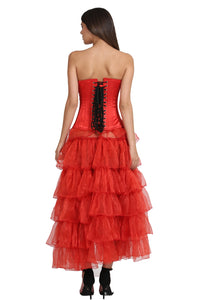 Red Satin Black Handmade Sequins Plus Size Overbust Corset Burlesque Costume With Frill Tissue LONG Skirt Dress