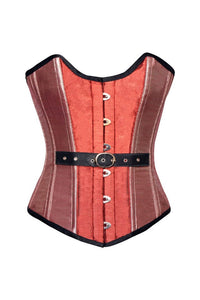 Orange Pink Silk Gothic Burlesque Corset Waist Training Overbust