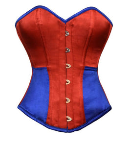 Red Blue Satin Gothic Burlesque Corset Waist Training Bustier Overbust