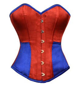 Plus Size Red Blue Satin Gothic Overbust Corset Waist Training Bustier Burlesque Costume