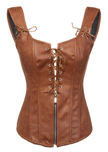 Brown Faux Leather Zipper N Lacing Overbust Plus Size Corset Gothic Costume
