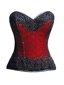 Red Satin Black Handmade Sequins Gothic Plus Size Corset Waist Training Burlesque Costume